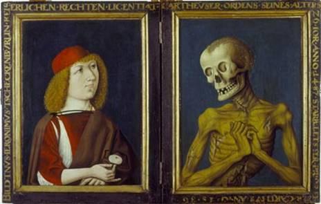 Anonyme, Double portrait macabre de Hieronymus Tschekkenbürlin_1487