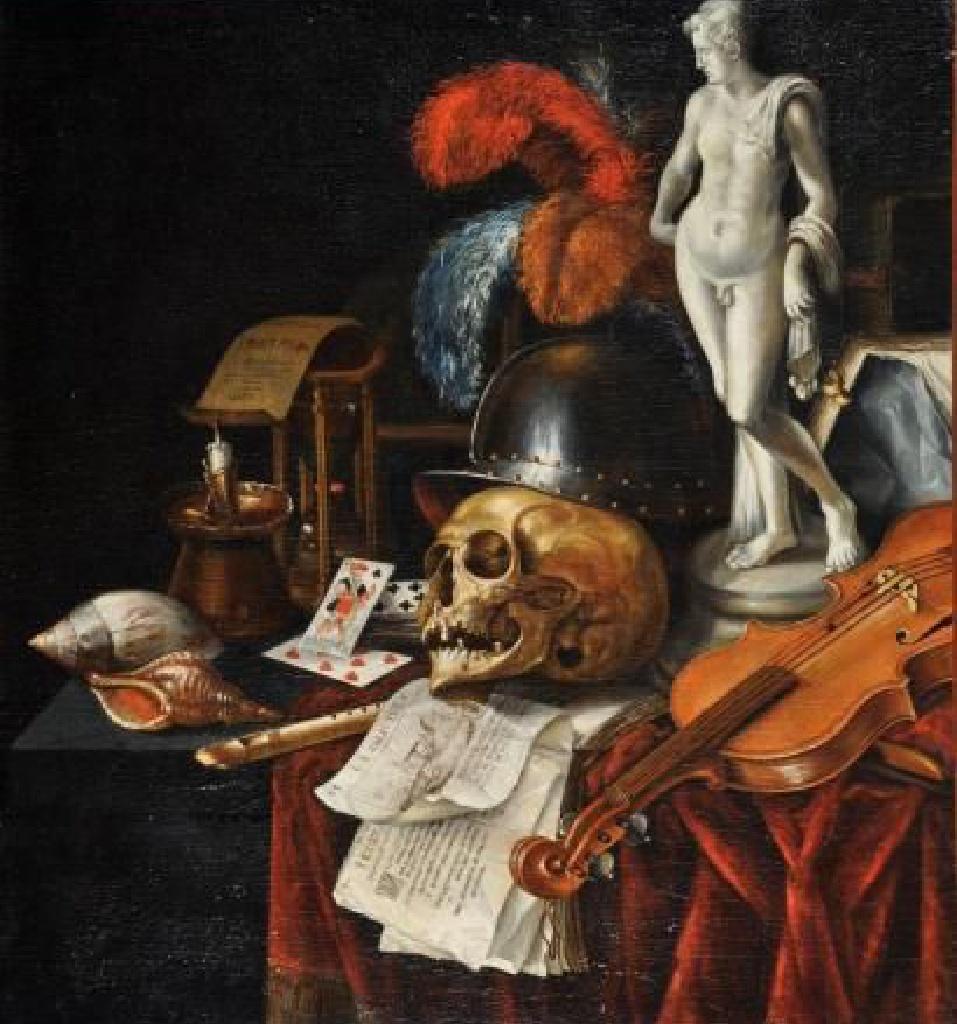 Jan Fris- vers 1660- Vanité au casque, à l'Apollon de marbre, et au violon,